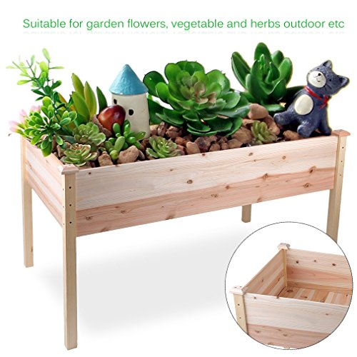 Homgrace Raised Vegetable Garden Bed, Outdoor Patio Wooden Elevated Planter Flower Box by Homgrace