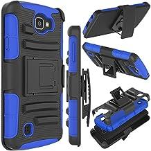 LG Optimus Zone 3 Case, LG K4 Case, LG Spree Case, LG Rebel LTE Case, Zenic Hybrid Dual Layer Armor Defender Full-body Protective Case Cover with Kickstand & Belt Clip Holster Combo (Dark Blue)