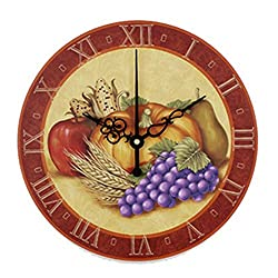 Biscount Living Room Kitchen Clock Withe Waterproof Clock Face The Fruits Wall Decoration Clock For Dining Hall Fashion Home Decoration Wall Clock 14 Inch