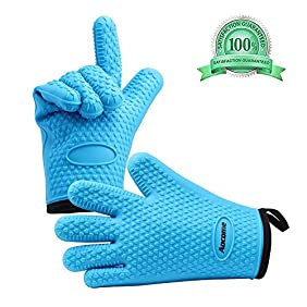 Silicone Oven Gloves Extra Thick Heat Resistant Oven Mitts from Aocome, for Cooking Grilling BBQ and Baking, Quilted Cotton Lining, Waterproof Non-Slip Grip Food Grade Safe 1 Pair