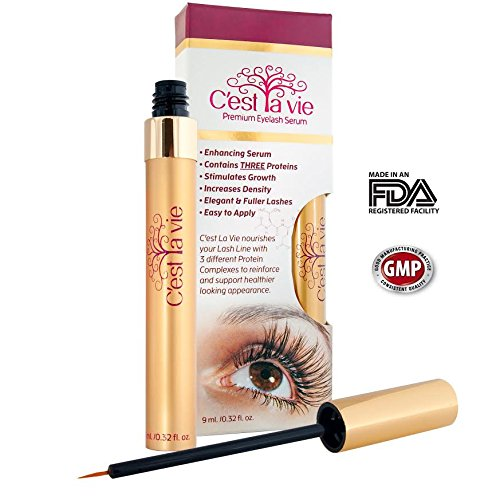 C'est La Vie Premium Growth Eyelash & Eyebrows Serum (9.0ml/0.32 Fl. Oz)- Now with Three Proteins to Nourish a Healthier Looking Lashes C'est La Vie 670579996242