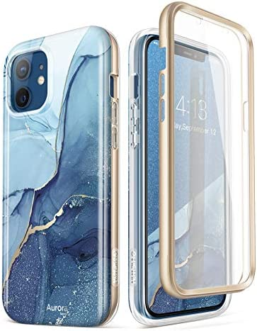 GVIEWIN Marble Case Compatible with iPhone 12/iPhone 12 Pro 6.1 Inch, [Built-in Screen Protector] [Full-Body Protection] Marble Stylish Cover Slim Shockproof Protective Phone Case (Stray Stars/Blue)