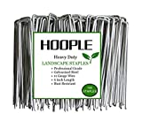Hoople 100-Pack 6'' 11 Gauge Heavy-Duty U-Shaped Garden Securing Pegs - Sod Staples Ideal for Securing Weed Barrier Fabric Netting, Irrigation Hoses, Ground Sheets and Fleece - Stakes, Garden Spikes