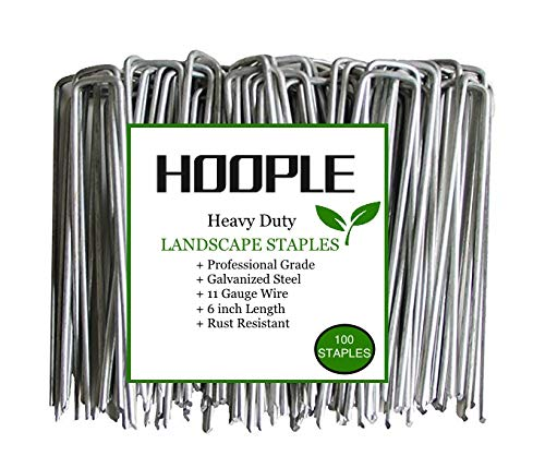 Hoople 100-Pack 6'' 11 Gauge Heavy-Duty U-Shaped Garden Securing Pegs - Sod Staples Ideal for Securing Weed Barrier Fabric Netting, Irrigation Hoses, Ground Sheets and Fleece - Stakes, Garden Spikes by Hoople