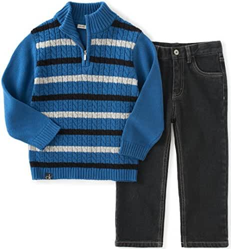 Calvin Klein Baby Boys' Sweater with Jeans Pants Set