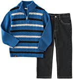 Calvin Klein Baby Sweater with Jeans Pants Set, Blue, 24 Months