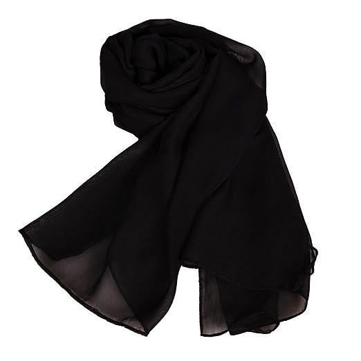 ef0cabc08332 MATCH MUCH Chiffon Scarf Solid Colors Wrap Shawl (Black) at Amazon ...
