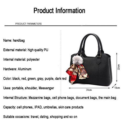 Crossbody Bag Multifunction Purple WU Large Bag ​​Shoulder Handbag ZHI Joker Women Capacity Bag PU Handbag Large 6AXZ76