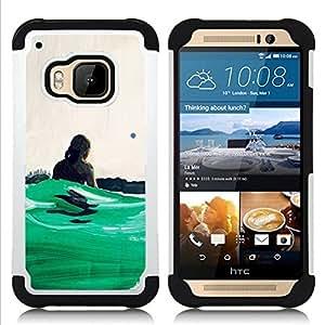 """HTC One M9 /M9s / One Hima - 3 en 1 impreso colorido de Altas Prestaciones PC Funda chaqueta Negro cubierta gel silicona suave (Verde Surf Olas de Verano de Hawaii"""")"""