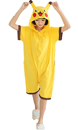46ce3831fe40 Cartoon Anime Cotton Pikachu One-pieces Pajamas Short Sleeve Couples  Sleepwear (L(168