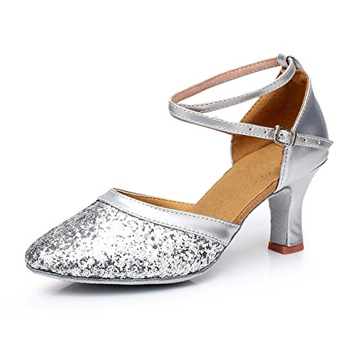 VASHCAMER Mujer Plata de Tacón para de Zapatos Baile 7ZwA7qg