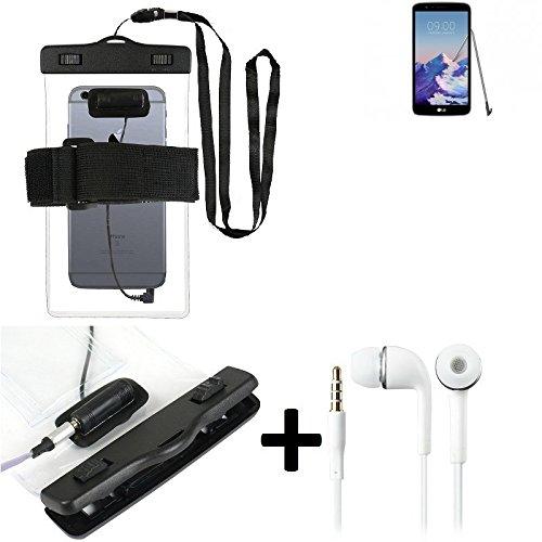 Estuche estanco al agua con entrada de auriculares para LG Electronics Stylus 3 + auricular incluido, transparente   Trotar bolsa de playa al aire libre caja brazalete del teléfono caso de cáscara baj