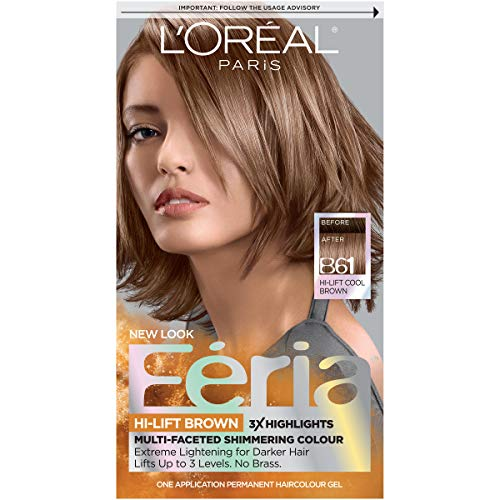 L'Oréal Paris Feria Multi-Faceted Shimmering Permanent Hair Color, B61 Downtown Brown (Hi-Lift Cool Brown), 1 kit Hair Dye