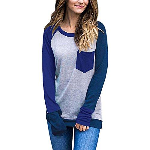 - Teresamoon Womens Casual Long Sleeve Crewneck Color Block Pocket Sweatshirt Blouse Tops