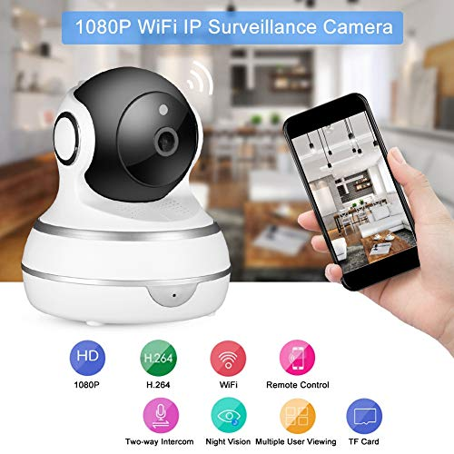 Xinwoer Camera,1080P PTZ WiFi IP Audio Camera Wireless Indoor Surveillance Motion Detection Camera 100-240V,Supporting Wired + Wireless Connection(1#)