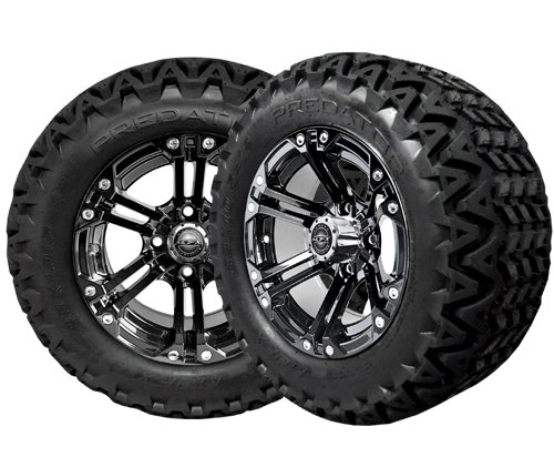 Golf Cart 12''Madjax ''Nitro'' Black Wheel and 23 x 10.5-12 Golf Cart (6-PLY) ''X-Trail'' All Terrain Tire Combo- - Set of 4 (23 x 10.5-12, Standard Lugs)