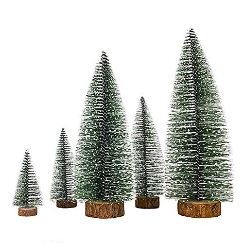 SUNREEK 5 Pieces Artificial Mini Christmas Sisal Snow Frost Trees with LED Fairy String Light, Bottle Brush Trees Plastic Winter Snow Ornaments Tabletop Trees for Christmas Party Home Decoration