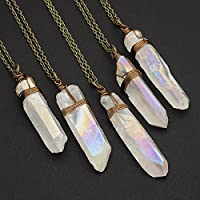 White aurora borealis raw crystal aura quartz point antique bronze chain pendant necklace 23 in