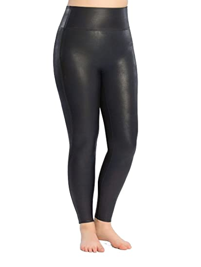 9f27c3dd7 SPANX Women s Plus Size Faux Leather Leggings Night Navy 1X 27   Amazon.co.uk  Clothing