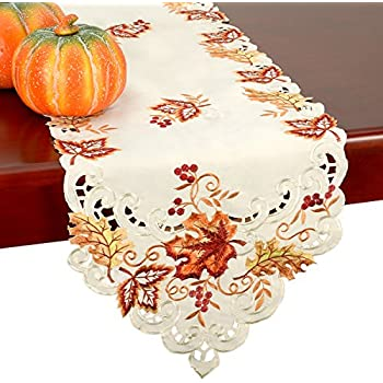 GRELUCGO Elegant Thanksgiving Holiday Table Runner, Embroidered Maple  Leaves Fall Table Linen, 15 By