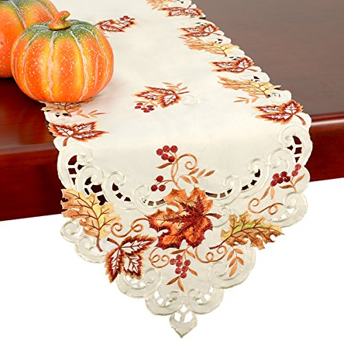 GRELUCGO Elegant Thanksgiving Holiday Table Runner, Embroidered Maple Leaves Fall Table Linen, 15 By 70 Inch …
