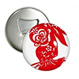 China Monkey Traditional Window Flowers Round Bottle Opener Refrigerator Magnet Pins Badge Button Gift 3pcs