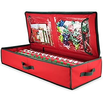 Zober Premium 600D Oxford Hanging Wrapping Paper Storage Fits Up To 12  Rolls, Spinning Closet