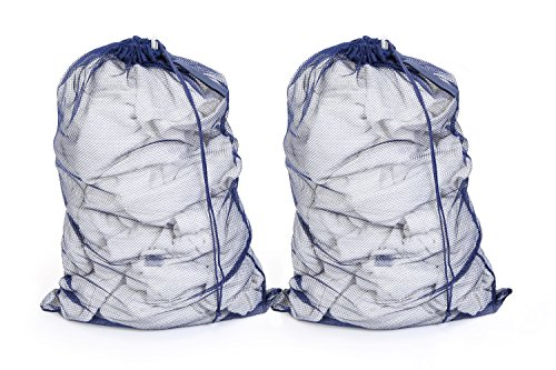 PRO-MART DAZZ Small Mesh Laundry Bag with Handle, Blue - 2 Pack