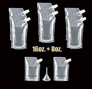 Cruise Runners Brand Ship Kit Flask 8 Pack Sneak Alcohol Rum Liquor Smuggle Booze Gift (6x16 oz. + 2x8oz.)