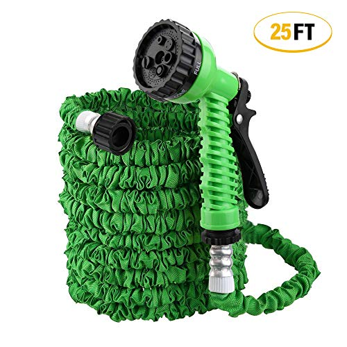 ActionEliters 25ft Garden Hose, Water Hose, Lightweight Expandable Garden Hose with Double Latex Core, Extra Strength Fabric – Flexible Expanding Hose with 7 Functions Spray Nozzle