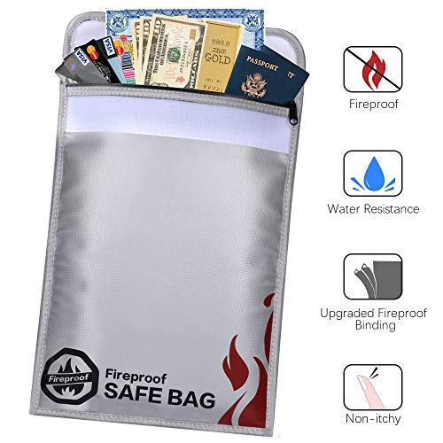 "Fireproof Document Bags-15x11"" Fireproof Safe Bag- Non-Itchy, Water Resistant Money Pouch to Protect Money, Passport, Legal Documents, Silicon Coated, Double Layer Fiberglass (Grey)"