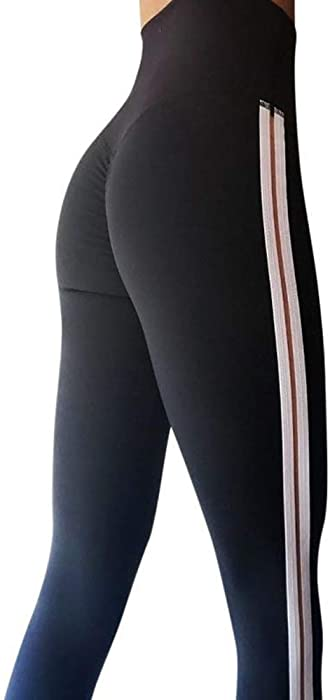 59a41698a01252 URIBAKE ❤ Women's Workout Leggings Mid Waist Striped Fitness Sports Gym  Running Yoga Athletic Pants