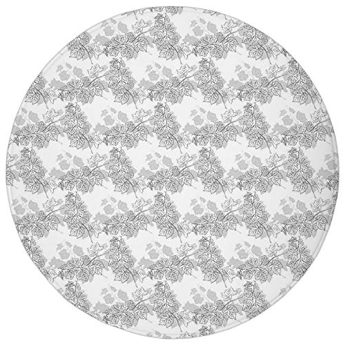 (Round Rug Mat Carpet,Grey Decor,Spherical Disc Shaped Internal Pitch Bowls Spiral Mesh Hoop Concept Design,White Gainsboro,Flannel Microfiber Non-slip Soft Absorbent,for Kitchen Floor Bathroom )