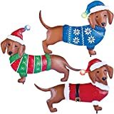 Christmas Dachshund Outdoor Stakes - Set of 3