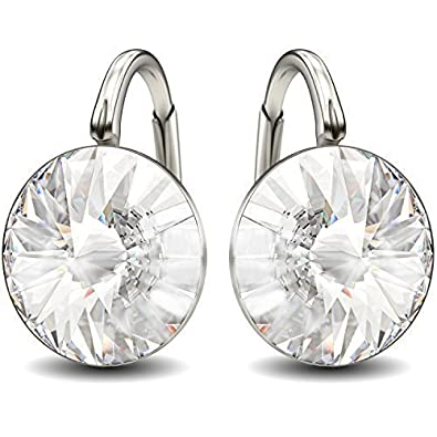 Royal Crystals with Swarovski Crystals 925 Sterling Silver Clear (White) Round Bridal Earrings for Women and Teen Girls, Lever-Back