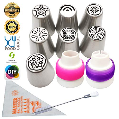 Feleph Cake Decorating Set Russian Icing Piping Nozzles Frosting Flower Piping Nozzles Decorations Tools Set and Bag for Cupcake 12 Pcs//Set Stainless Steel Large Size Russian Piping Tips