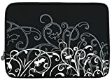 "Black and White Fleur Carrying Case Sleeve fit Apple MacBook 13"" and 13 - 14 inch Notebook Laptop Computer"