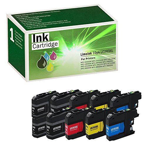 imeink 10 Pack Compatible 203XL LC203 XL LC203XL High Yield Ink Cartridges (4 Black, 2 Cyan, 2 Magenta, 2 Yellow) for MFC-J5620DW MFC-J5720DW MFC-J680DW MFC-J880DW MFC-J885DW ()