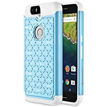 Google Nexus 6P Case, Fosmon [HYBO-SD] (Star Diamond) Dual Layer Hybrid Cover for Google Nexus 6P / Huawei Nexus 6P - Fosmon Retail Packaging (Sky Blue/White)