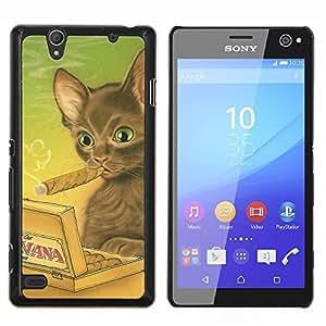 YiPhone /// Prima de resorte delgada de la cubierta del caso de Shell Armor - La Habana Gato Castaño Arte del cigarro Dibujo - Sony Xperia C4