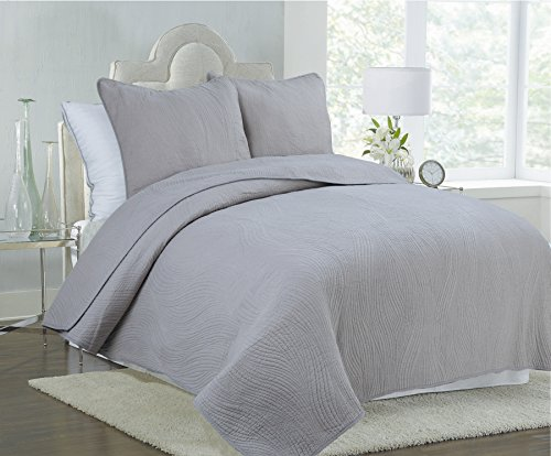 - Cozy Line Home Fashions Solid Grey Stream Curve Bedding Quilt Set, Reversible 100% Cotton Bedspread Coverlet,for Bedroom/Guestroom(Stream Curve - Grey, Queen - 3 Piece)