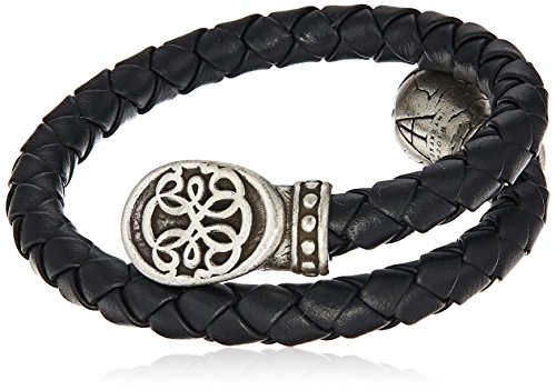 (Alex and Ani Men's Braided Leather Wrap Bracelet, Path of Life, Rafaelian Silver, Expandable)