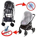 Wemk Universal Stroller Rain Cover, Baby Mosquito Net for Umbrella Pushchair Buggy, Transparent Waterproof Wind Snowing Weather Shield, EVA Material Non-Toxic odorless, Travel-Friendly, Outdoor Use