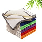 Luckiss Bamboo Dish Cloths Waffle Weave Cleaning Cloth Sets Super Absorbent Dishcloths Soft Durable and Eco-friendly Cleaning Rags With Poly Scour Side 12 x 12 inch 12 Pack