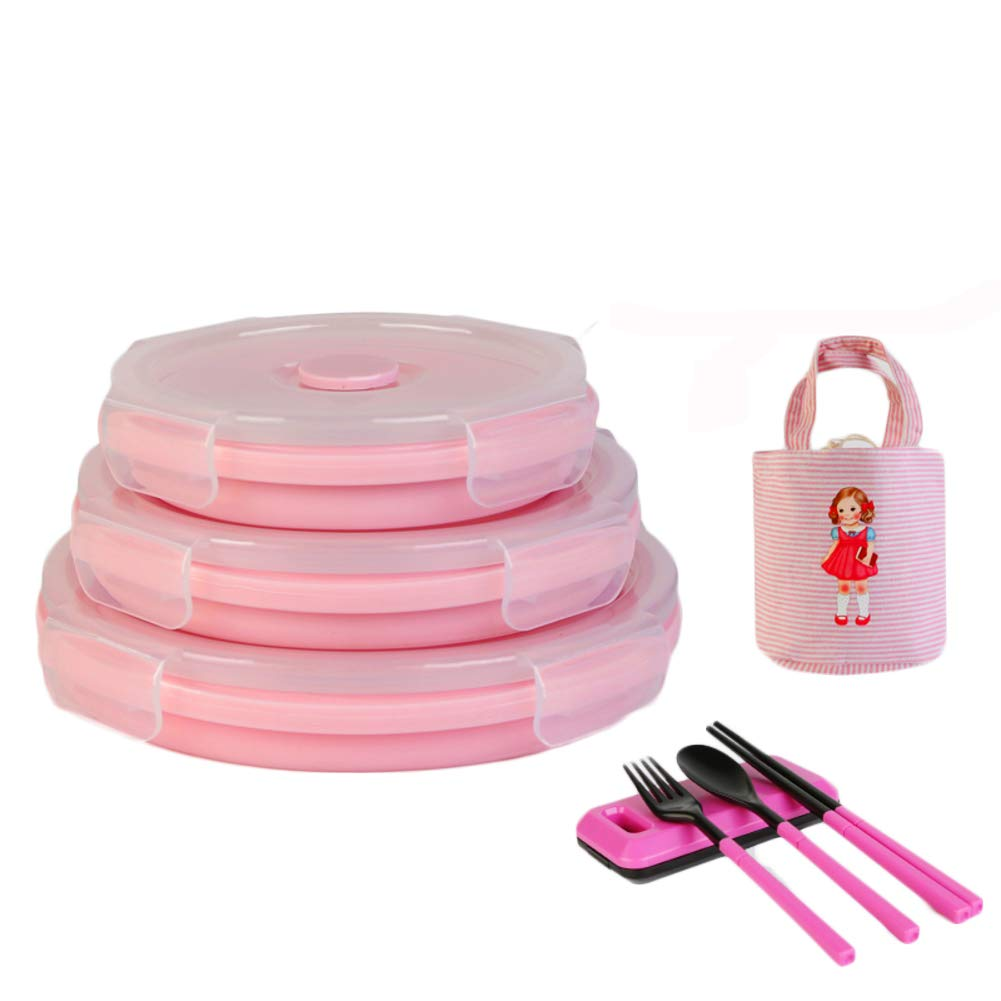 KnvcDey Silicone Collapsible Bowl,Camping Hiking Portable Travel Food Storage containers Lunch bento Box bpa Free Space-Saving-Pink B 3 Pack by KnvcDey