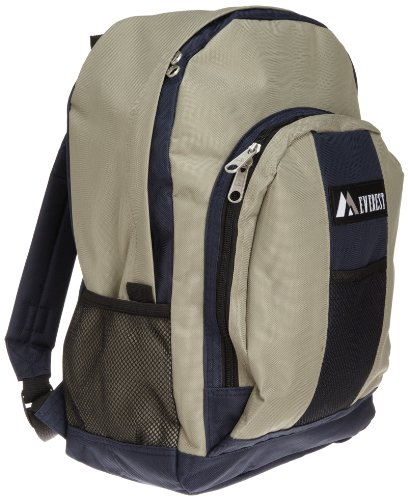 Everest Luggage Backpack with Front and Side Pockets, Navy/Khaki, Large