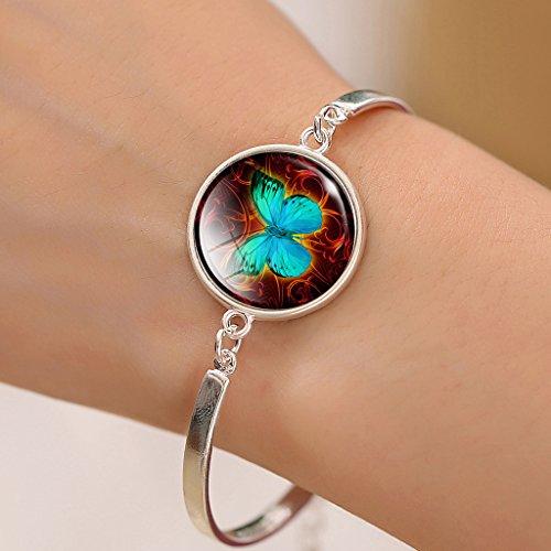 Jiayiqi Bijoux Femmes Belles Ailes Vertes Mignon Papillon Cristal Temps Bijou Bracelet Breloque