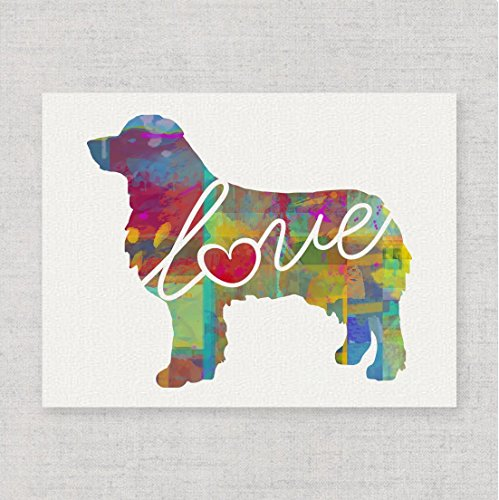 (Australian Shepherd (Aussie) Love - A Modern & Whimsical Dog Breed Watercolor-Style Wall Art Print/Poster on Fine Art Paper. Unframed & Can be Personalized)