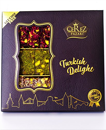 Turkish Delight Luxury Assorted%100 Hand Made Gourmet Gift Box Fantastic Rose & Pomegranate Flavor Experience With Pistachio (9-11 Pcs) 8.8 oz by Cerez Pazari