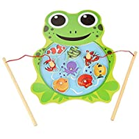 Magnetic Fishing Pole Game | Wooden Fishing Jigsaw Green Frog Shape Puzzle Board | Fine Motor Skills, Hand-Eye Coordination Toys for Kids | Learning Shape, Color and Sorting | Birthday Gift for Kids